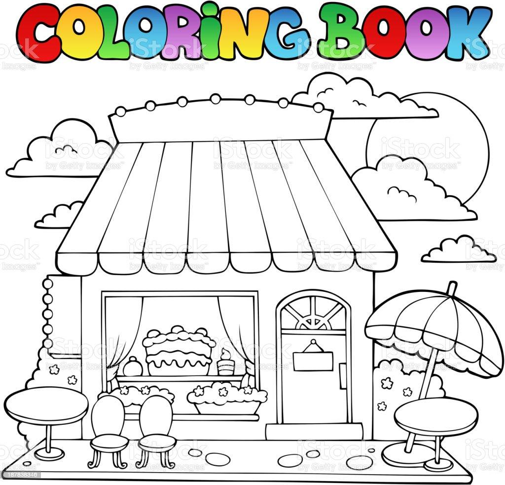 Libro Para Colorear Historieta Tienda De Dulces - Arte vectorial de ...