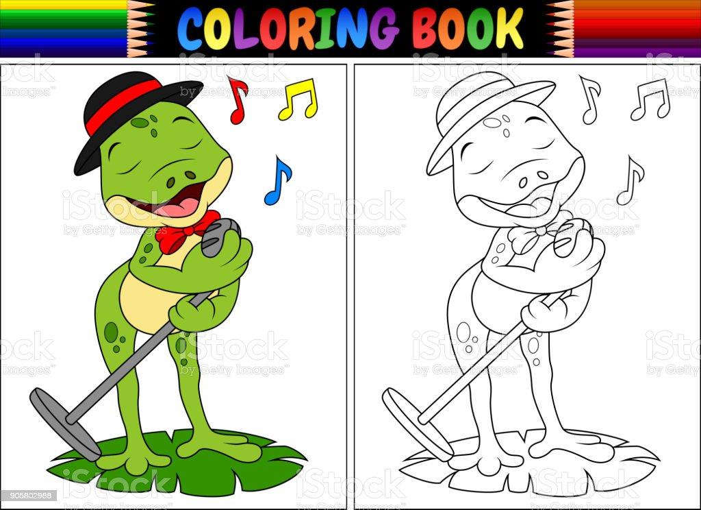 Ilustración de Canto De Rana Para Colorear Libro De La Historieta y ...