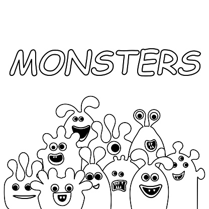 Coloring book , Cartoon Funny alien monsters on white . Copy space for text