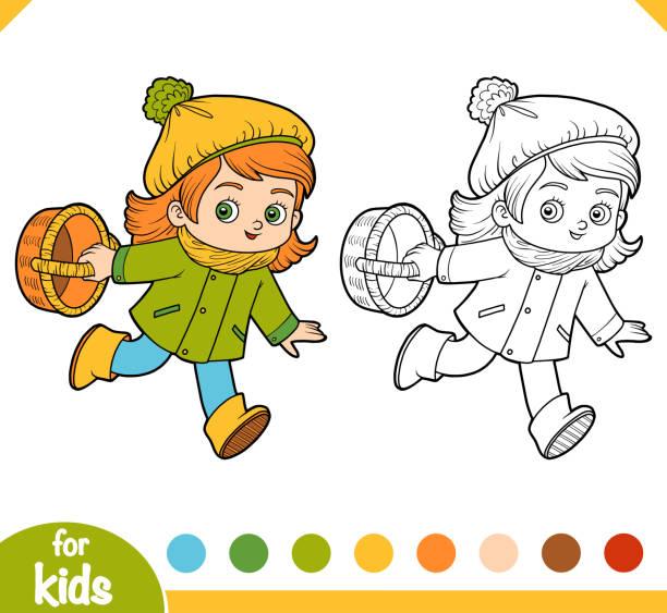 bildbanksillustrationer, clip art samt tecknat material och ikoner med målarbok, cartoon liten flicka med en korg för svamp - höst plocka svamp