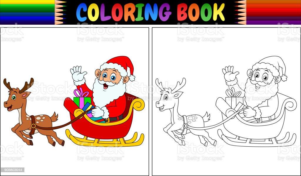 Ilustración de Libro Para Colorear De Dibujos Animados Santa Claus ...