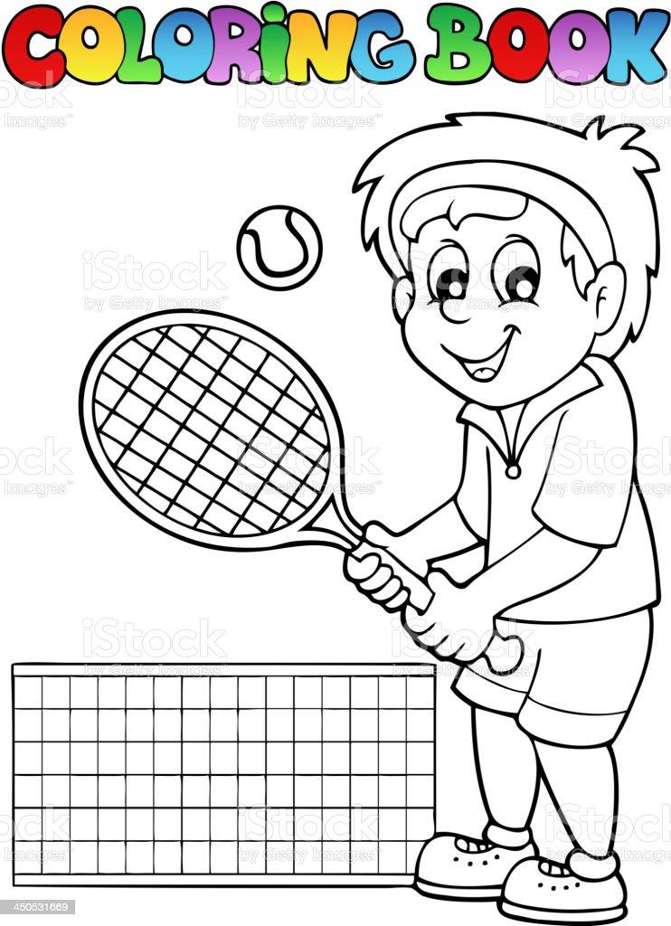 Ilustración de Libro Para Colorear Historieta Jugador De Tenis y más ...