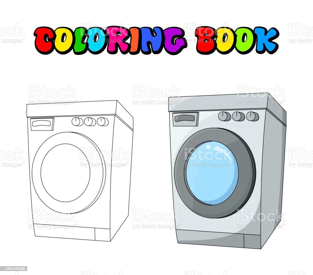 Vetores De Colorir O Projeto De Maquina De Lavar Roupa Dos