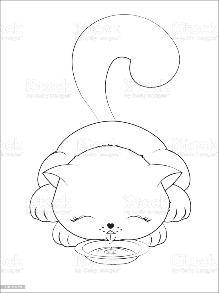 - Coloring Book Cat Drinks Milk Stock Illustration - Download Image Now -  IStock