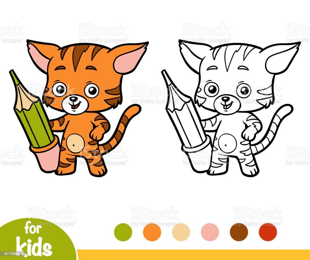 Ilustración de Libro De Colorear De Gato Con Un Lápiz y más banco de ...