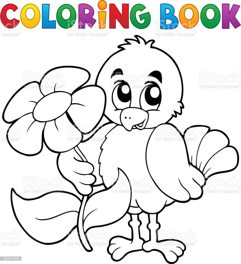 Cicek Boyama Kitabi Tavuk Stok Vektor Sanati Agac Cicegi Nin