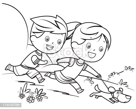 Vector coloring book, children and dog
