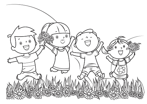 Coloring Book, Children Jumping