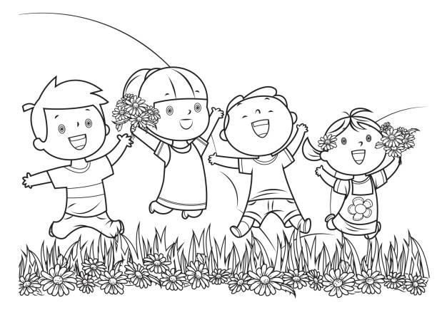 illustrations, cliparts, dessins animés et icônes de livre de coloriage, saut d'enfants - nuage 6