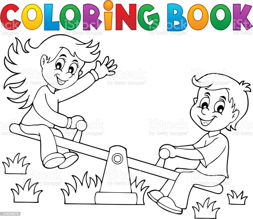 Coloring Book Children On Seesaw Theme 1 Stock Vector Art & More ...