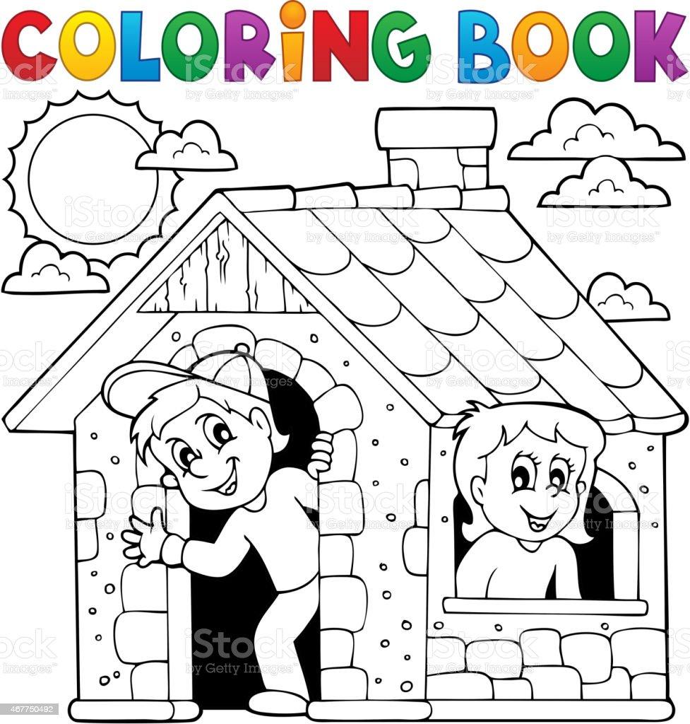 Vetores De Livro De Colorir Criancas Brincando Na Casa E Mais