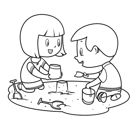 coloring book, children playing in the sand