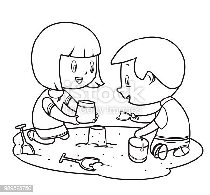 istock coloring book, children playing in the sand 989565750