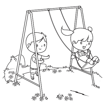 coloring book, children playing on swing