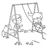 Vector coloring book, children playing on swing