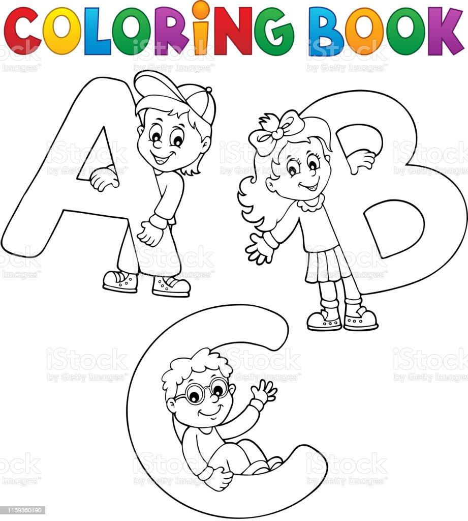 Ilustración De Libro Para Colorear Niños Con Letras Abc Y