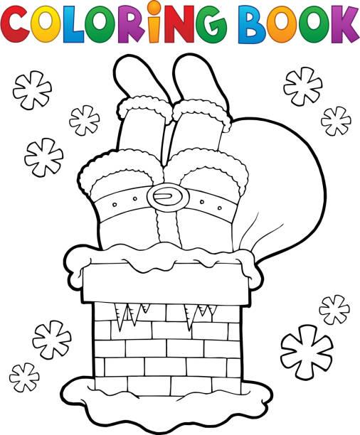 coloring book schornstein mit santa claus - kaminverkleidungen stock-grafiken, -clipart, -cartoons und -symbole
