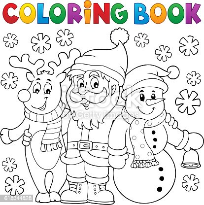 istock Coloring book Christmas characters 618344828