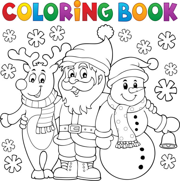 coloring book christmas characters - 색칠하기 stock illustrations
