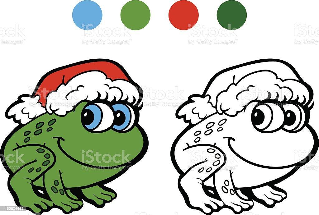 Ilustración de Libro Para Colorear Rana De Navidad Juegos Para Niños ...