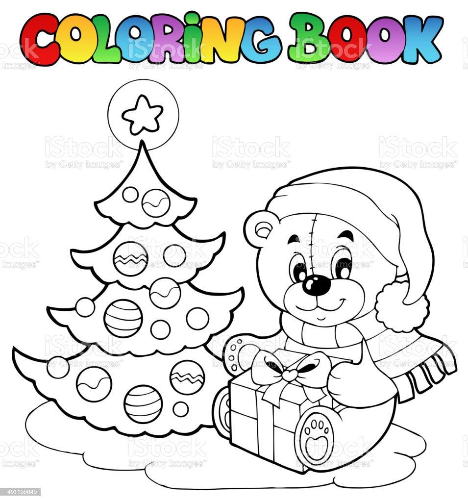 Ilustración de Osito De Peluche De Navidad Para Colorear Libro y más ...