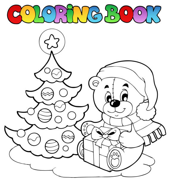 Osito De Peluche De Navidad Para Colorear Libro Vectores Libres De