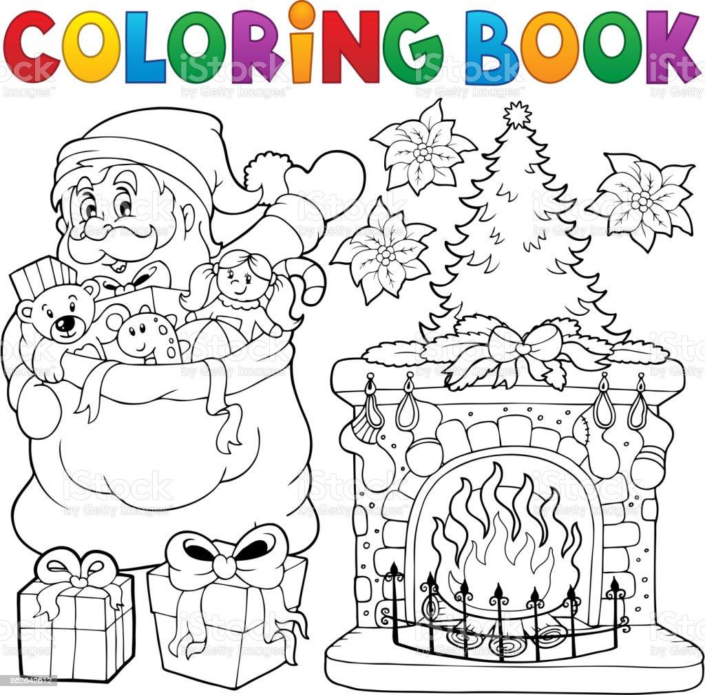 Boyama Kitabı Noel Thematics 9 Stok Vektör Sanatı Adamlarnin Daha