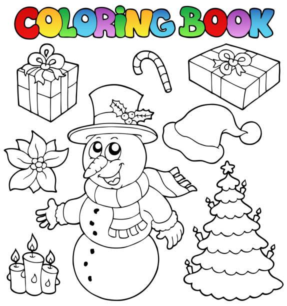 Vectores de Libro Para Colorear Muñeco De Nieve Y árbol De Navidad y ...