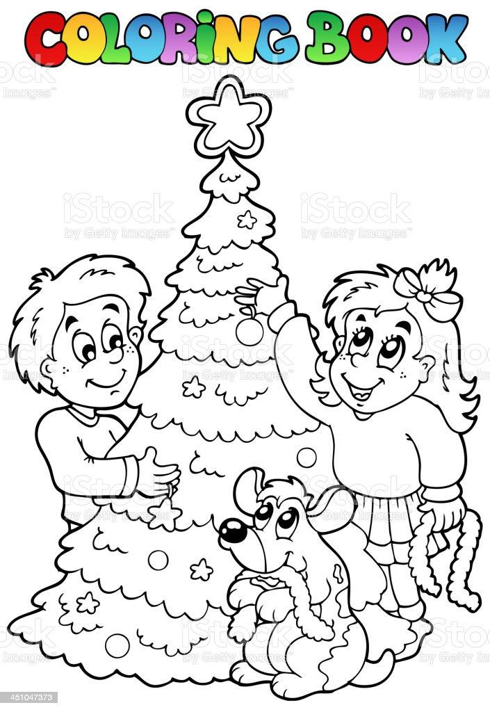 Ilustración de Libro Para Colorear El Tema Navideño 3 y más banco de ...