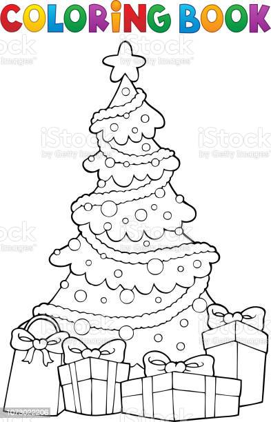 coloring book christmas tree and ts 2 vector id