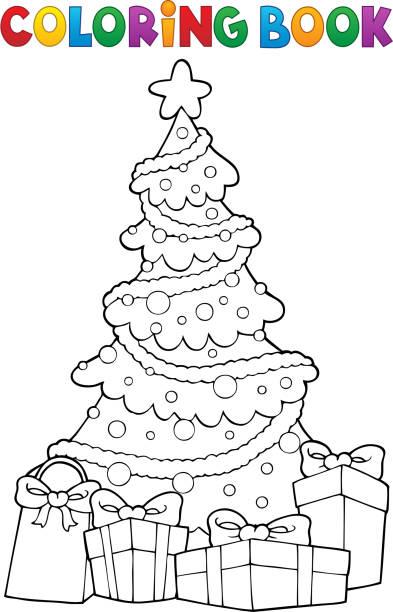 색칠 공부 크리스마스 트리 및 선물 2 - 색칠하기 stock illustrations