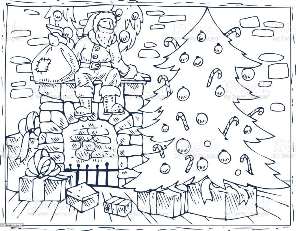 Grote Kleurplaten Kerstboom.Kleurplaat Kerstboom Boek Open Haard En Geschenken