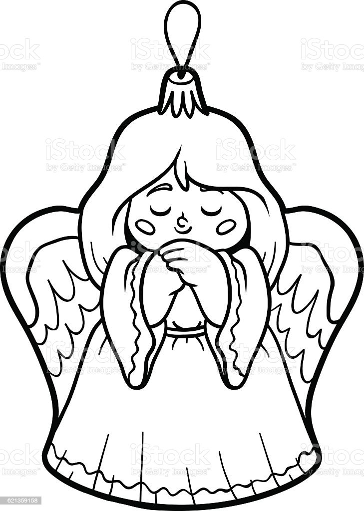 Coloring Book Christmas Tree Toy Angel Stock Vector Art & More ...