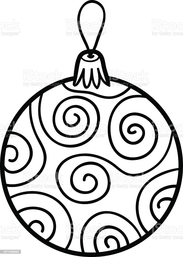 Coloring Book Christmas Tree Toy Ball Stock Vector Art & More Images ...