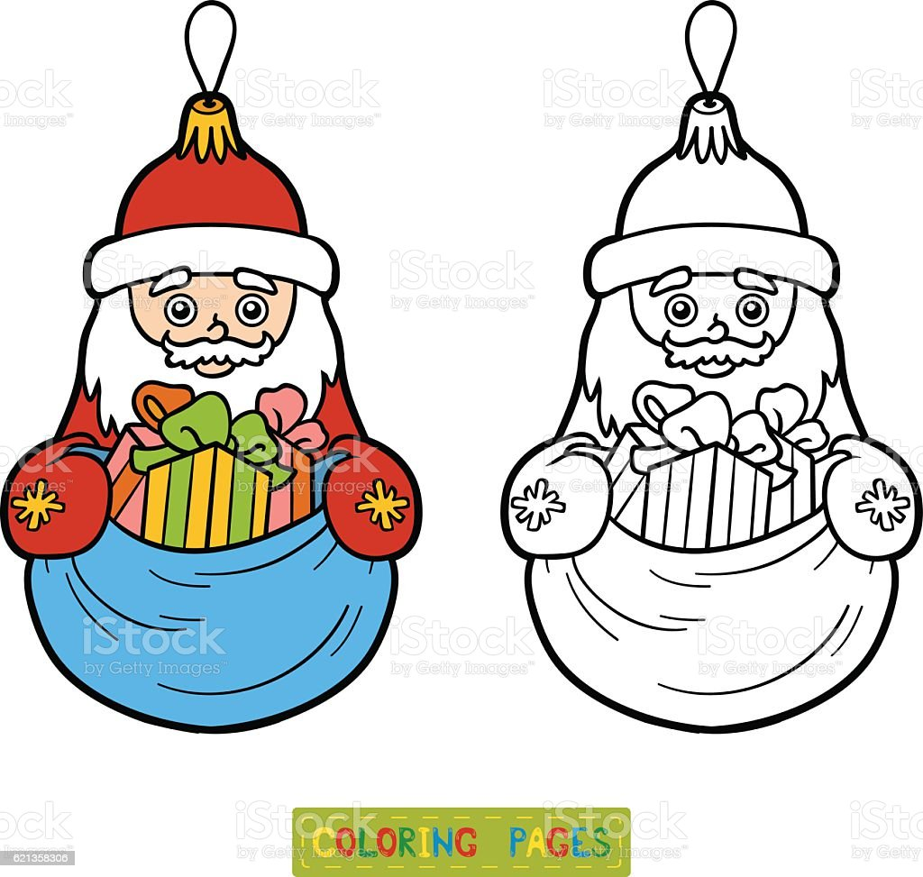 Coloring Book Christmas Tree Toy Santa Claus Royalty Free Stock Vector Art