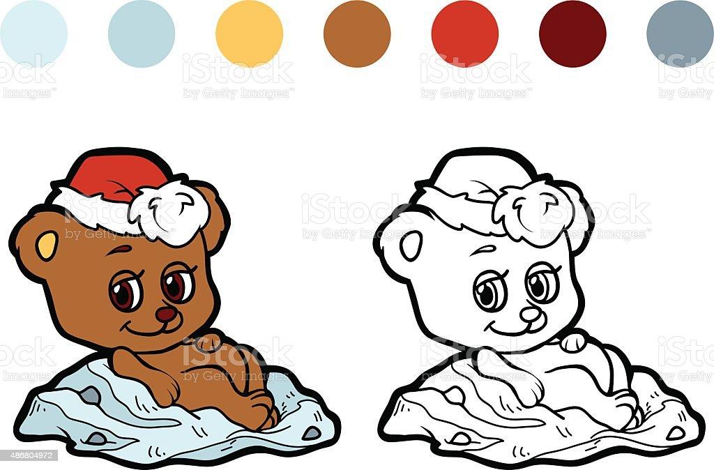 Ilustración de Libro Para Colorear Oso Invierno Navidad Juegos Para ...