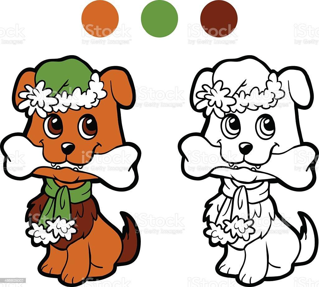 Libro Da Colorare Cane Di Natale Inverno Gioco Per Bambini