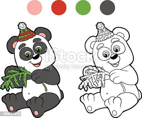 istock Libro para colorear: Navidad invierno panda. Juegos para niños ...