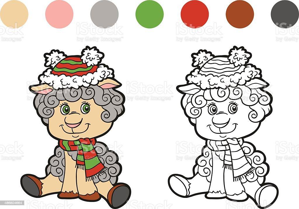 Malbuch Weihnachten Winter Schafe Spiel Für Kinder Vektor ...