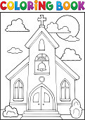 Coloring book church building theme 1