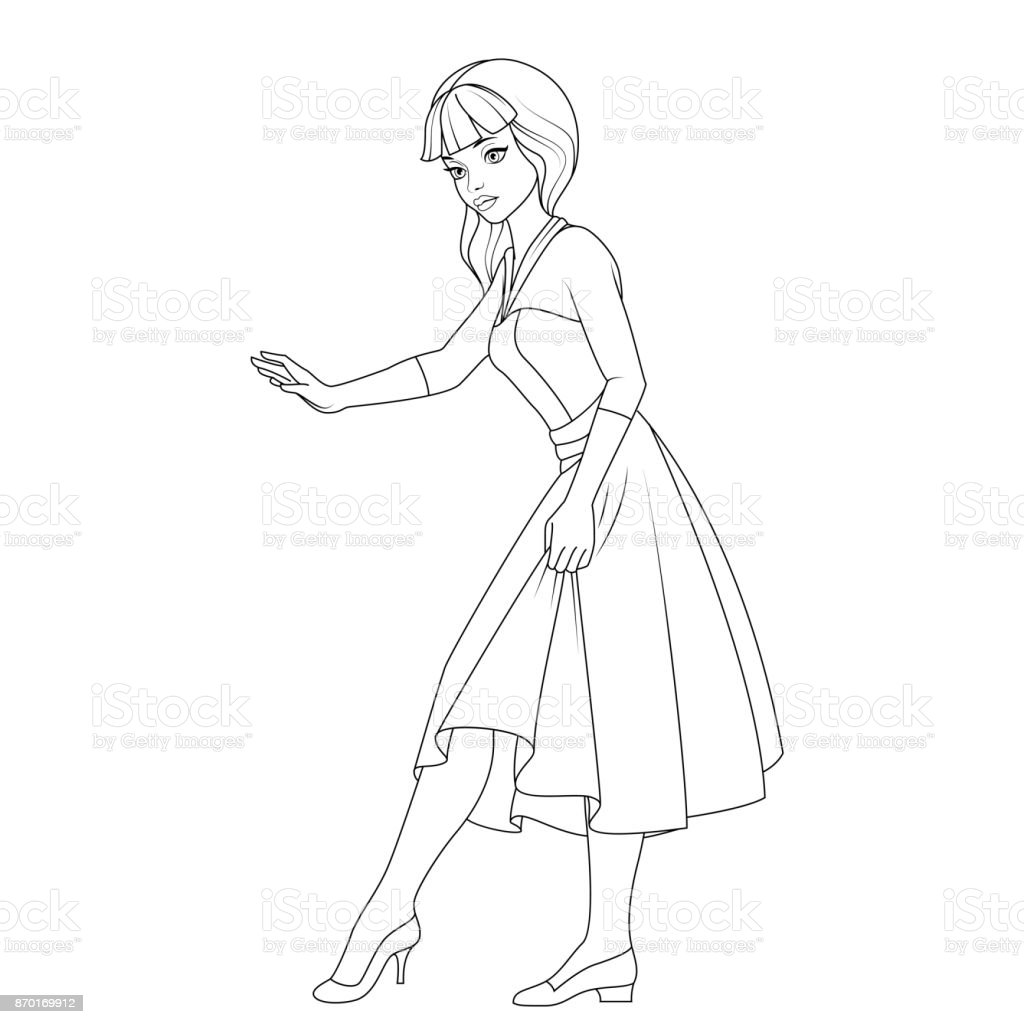 Coloring Book Cinderella Fairy Tale Character Stock
