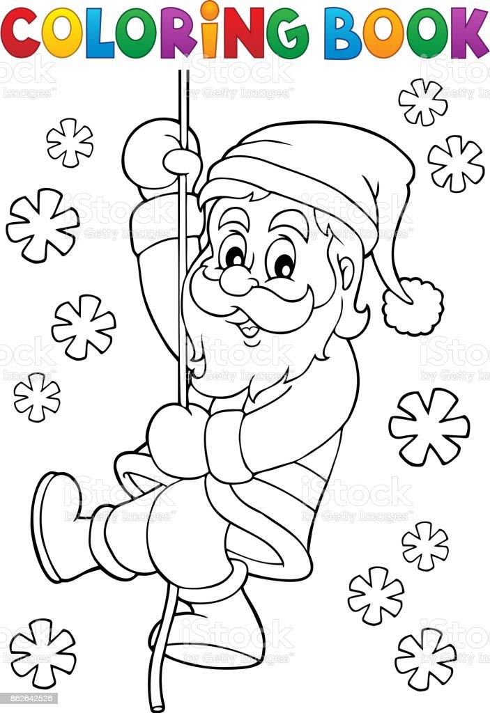 Noel Baba Tırmanma Boyama Kitabı Stok Vektör Sanatı Adamlarnin