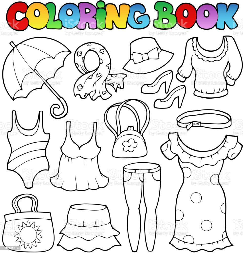 Ilustración de Libro Para Colorear Ropa De Estilo 2 y más banco de ...