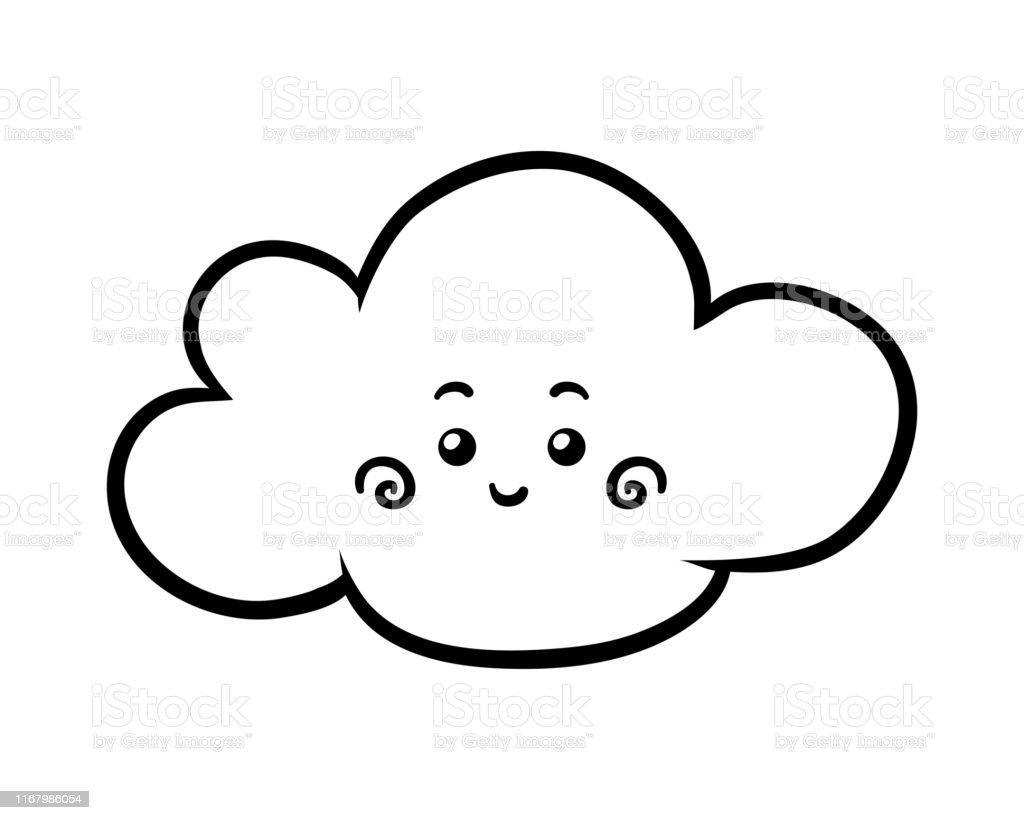 Ilustración De Libro Para Colorear Nube Con Una Cara Linda Y