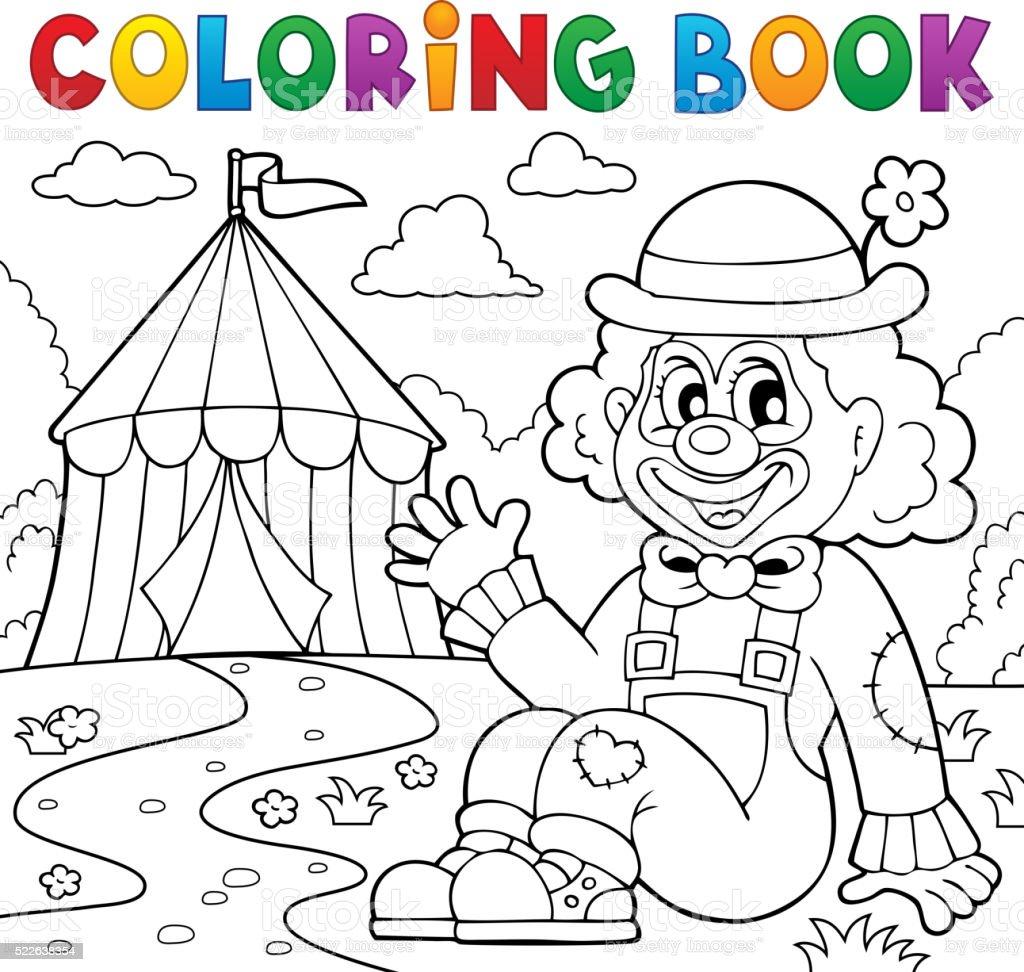Libro Da Colorare Tema Di Circo Pagliaccio Vicino 2 Immagini