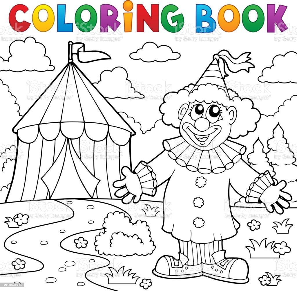 Libro Da Colorare Tema Di Circo Pagliaccio Vicino A 6 Immagini