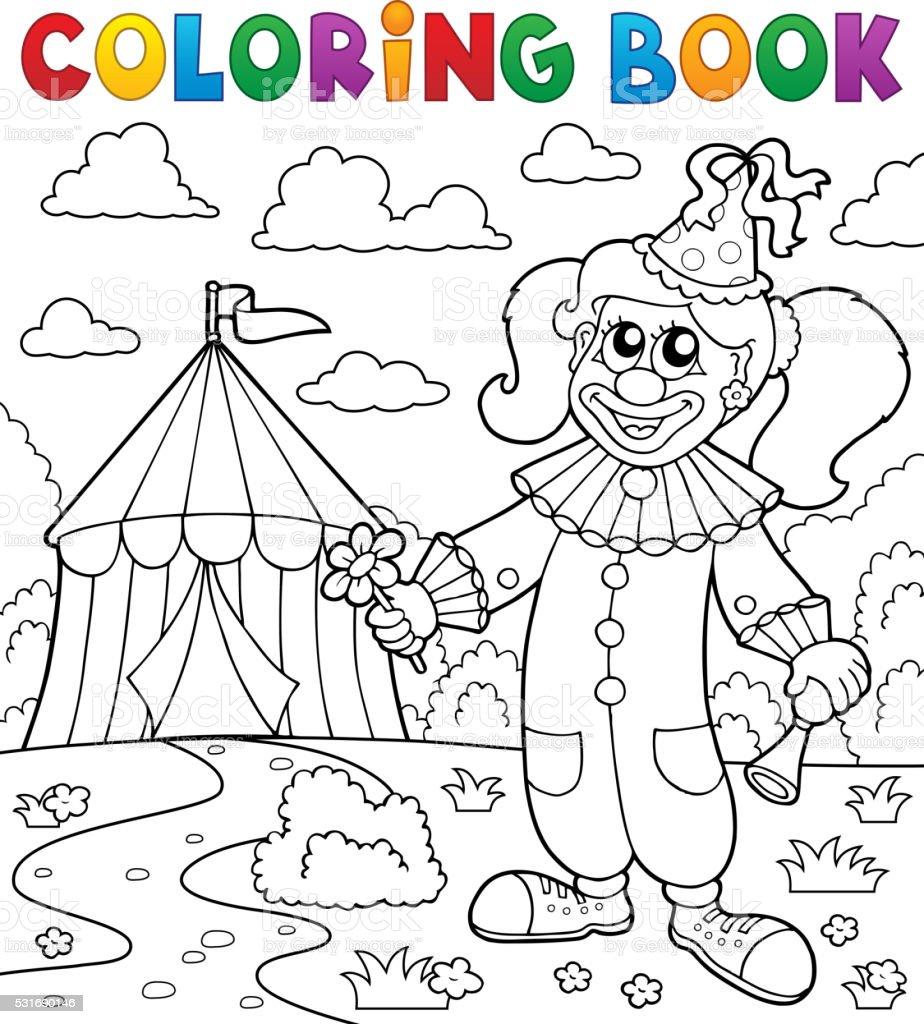 Libro Da Colorare Tema Di Circo Pagliaccio Vicino A 7 Immagini