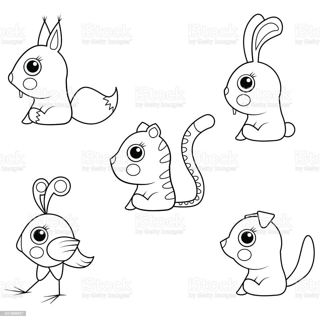 Ilustracion De Libro Para Colorear Coleccion De Dibujos Animados