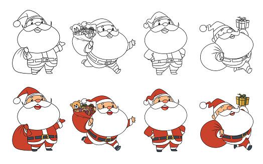 Coloring book, Collection of Cute Christmas Santa