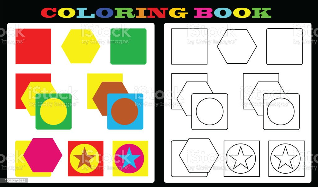 Coloring Book Colorful Shapes And Empty Shapes For Painting For Kids ...